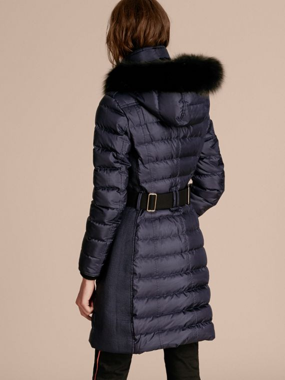 Navy Down-filled Coat with Fur-trimmed Hood Navy - cell image 2