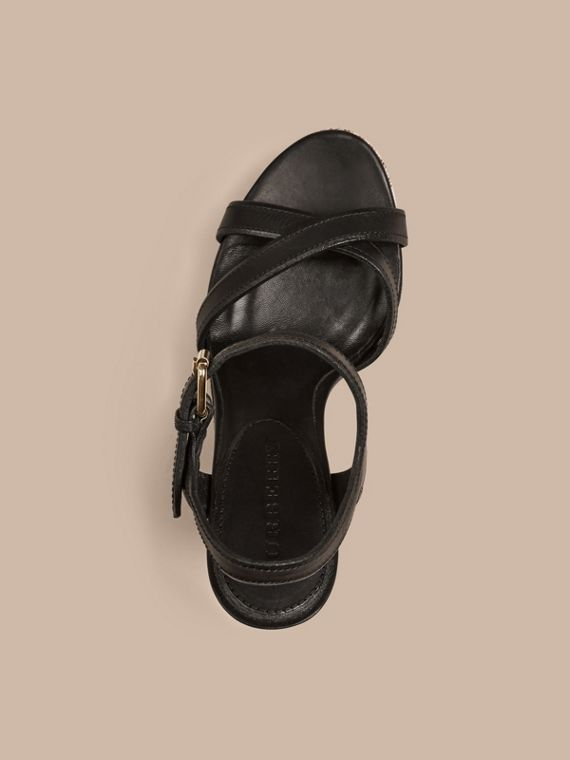 Black Canvas Check Leather Platform Wedges Black - cell image 2