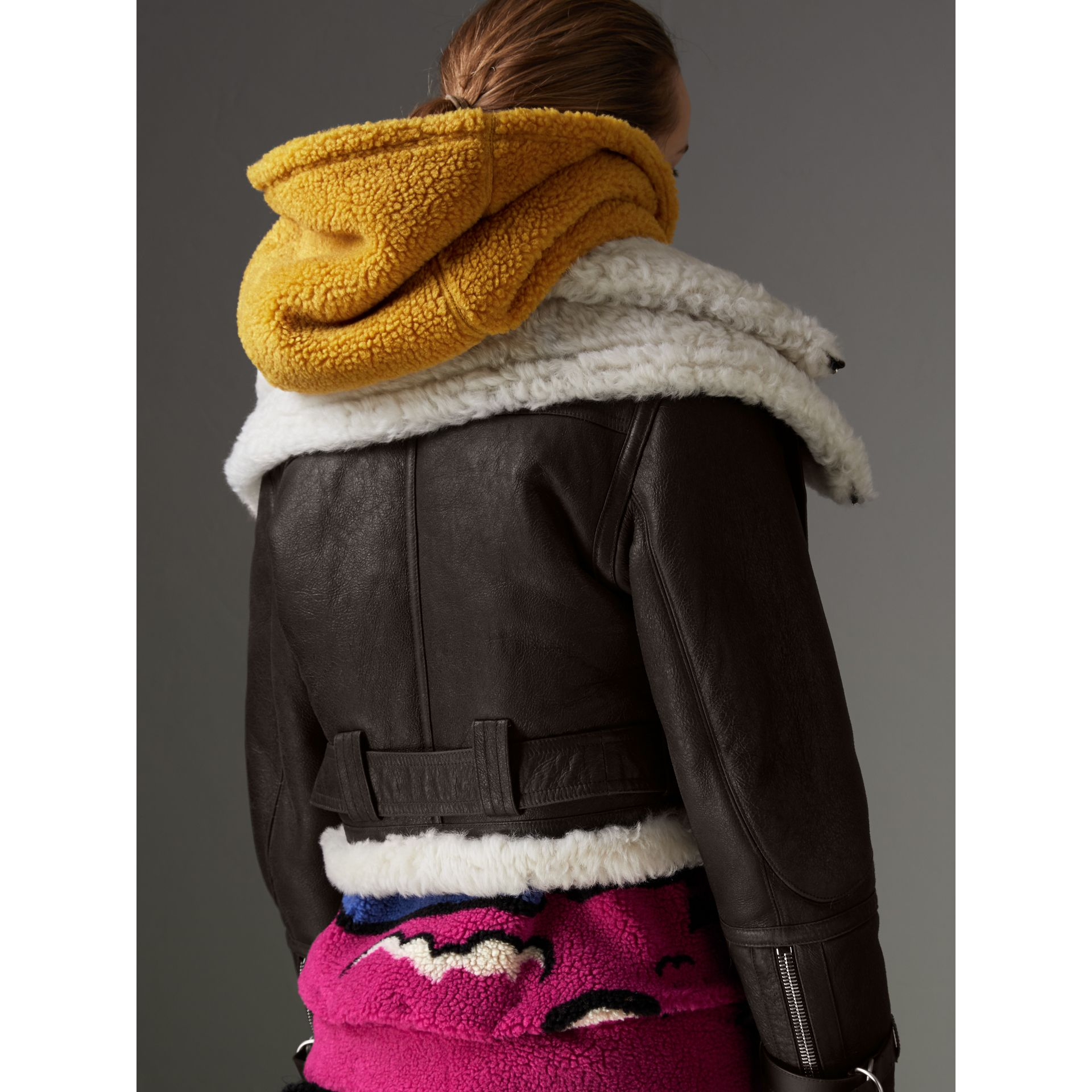 Reissued 2010 Shearling Aviator in Chocolate - Women | Burberry - gallery image 2