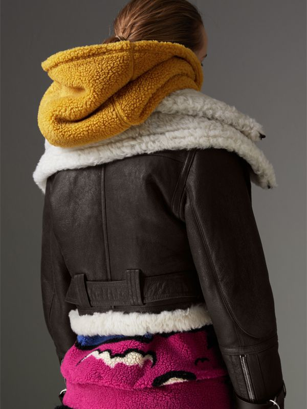 Reissued 2010 Shearling Aviator in Chocolate - Women | Burberry - cell image 2