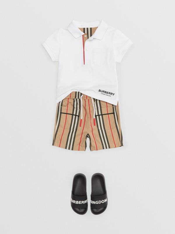 Icon Stripe Placket Cotton Piqué Polo Shirt in White - Children | Burberry - cell image 2