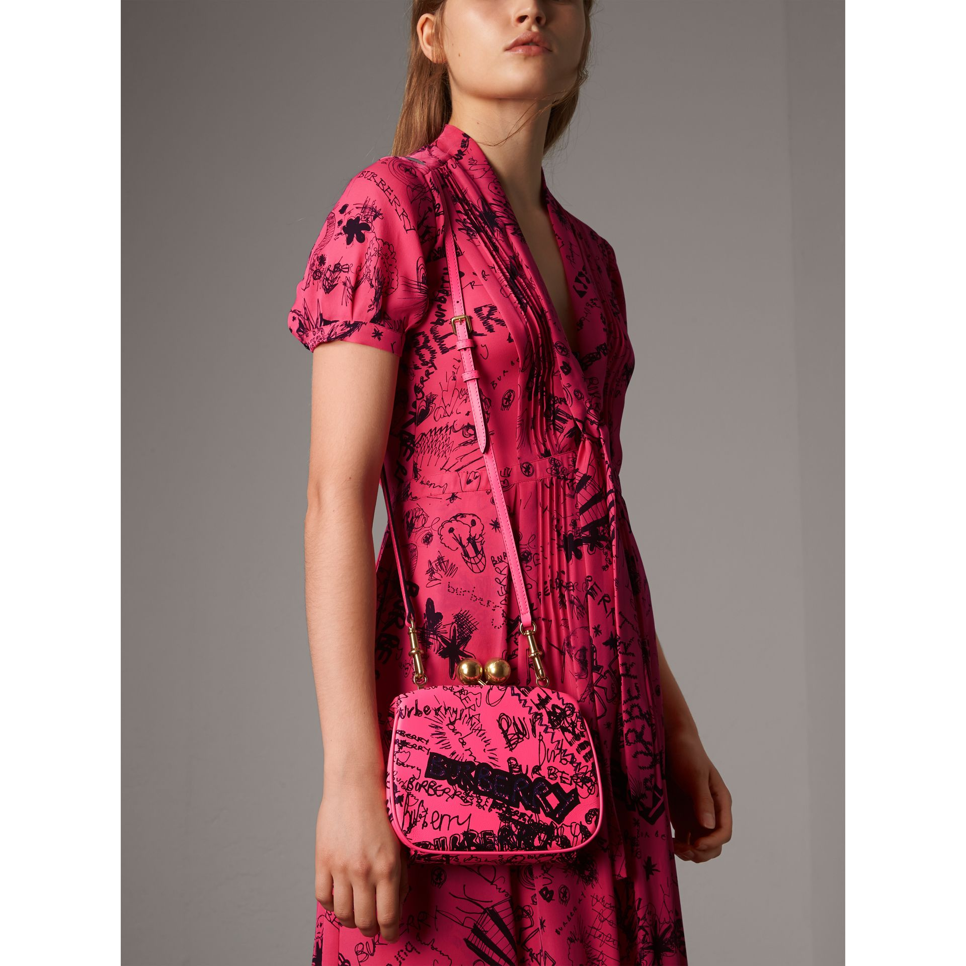 Small Doodle Print Leather Metal Frame Clutch Bag in Neon Pink - Women | Burberry - gallery image 3