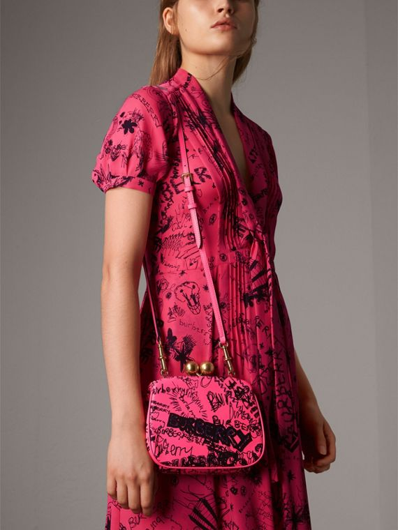 Small Doodle Print Leather Frame Bag in Neon Pink - Women | Burberry Canada - cell image 3