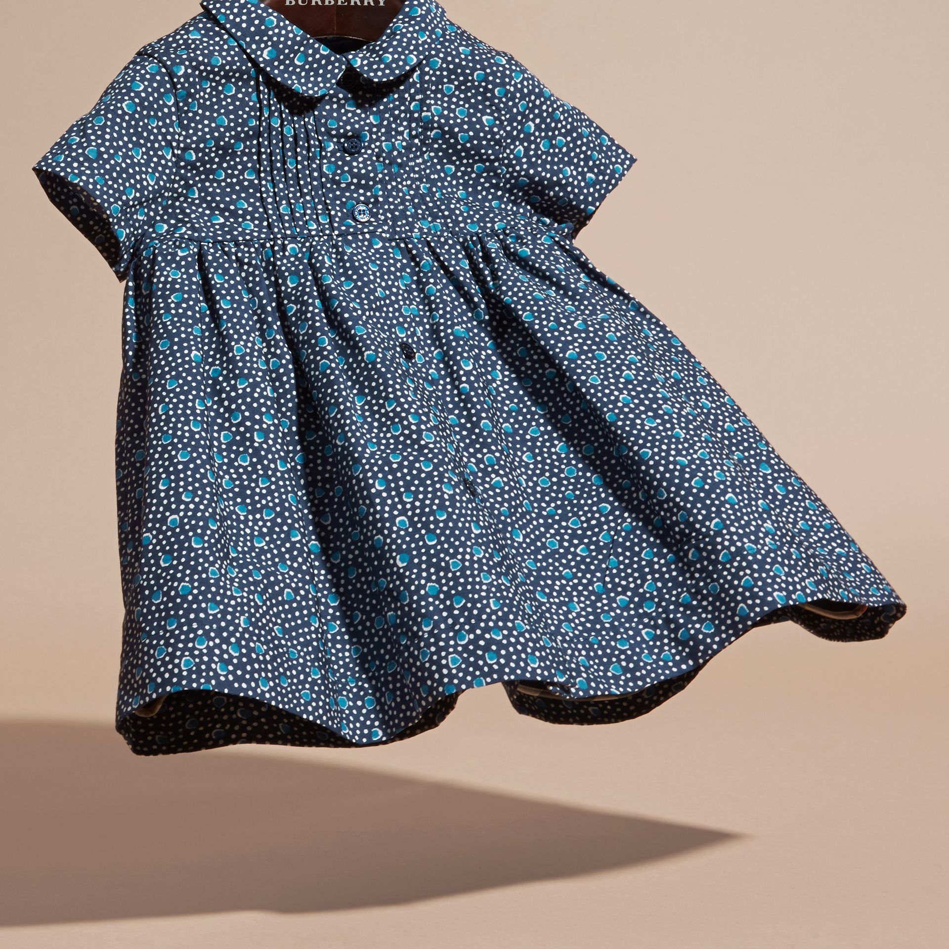 Pale navy Pintuck Detail Painterly Spot Print  Cotton Dress - gallery image 3