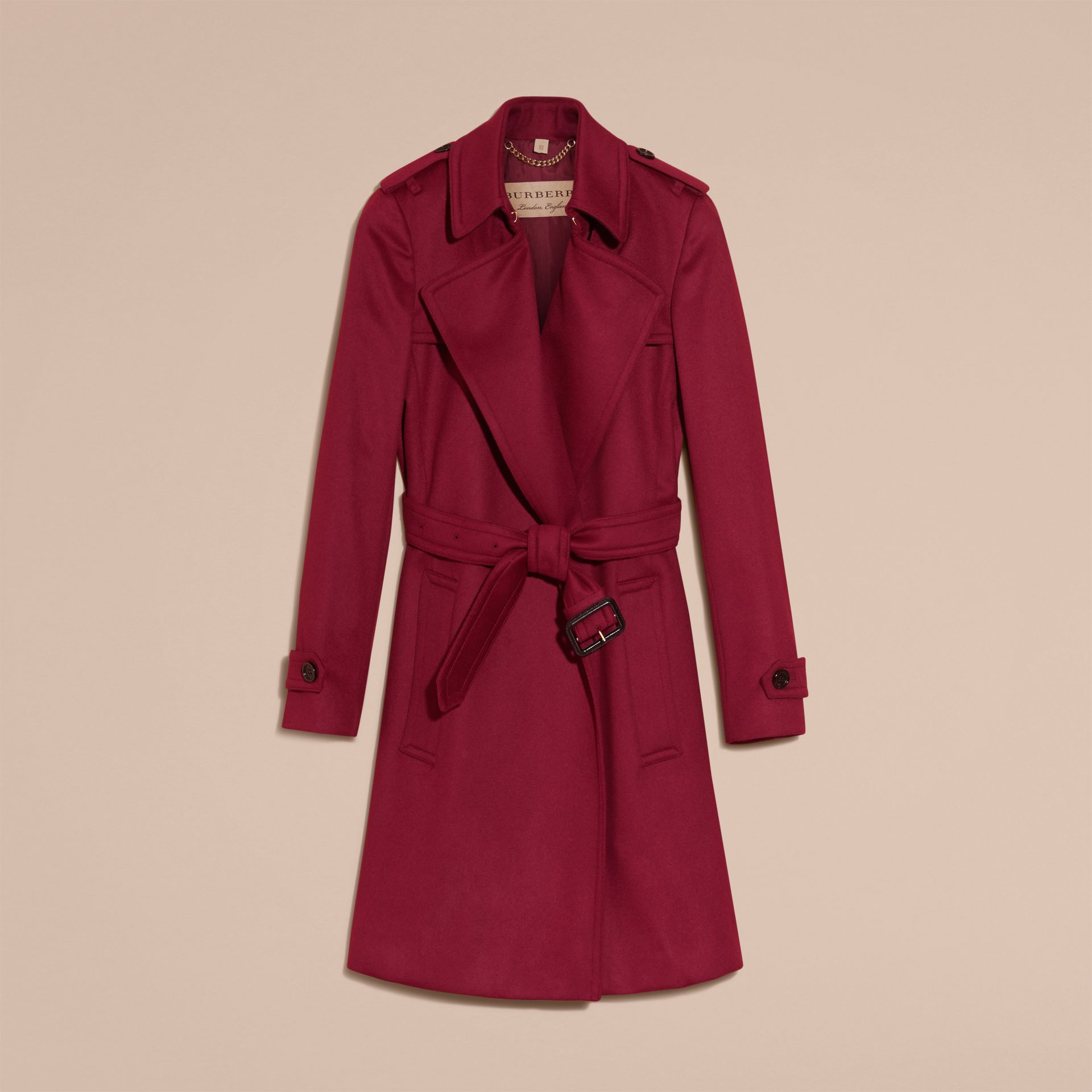 Cherry pink Cashmere Wrap Trench Coat Cherry Pink - gallery image 4
