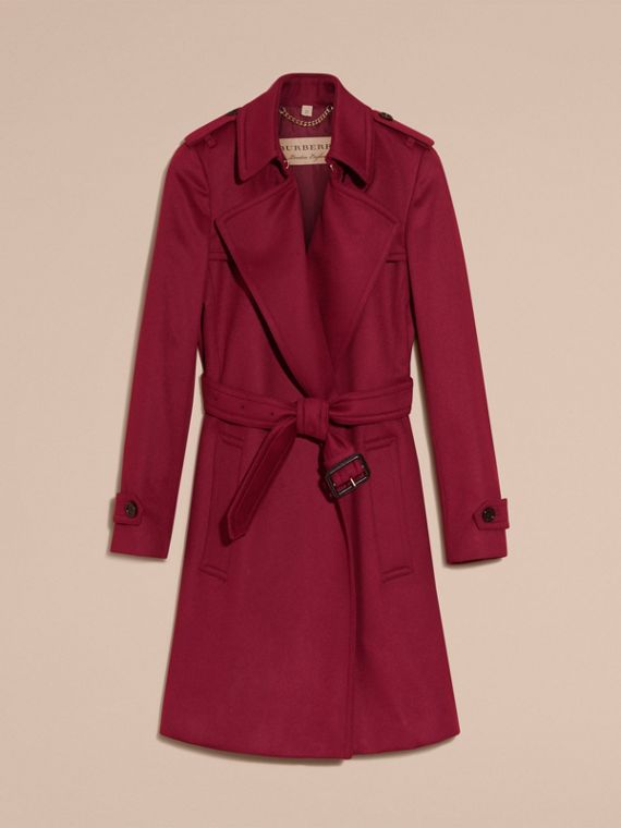 Cherry pink Cashmere Wrap Trench Coat Cherry Pink - cell image 3