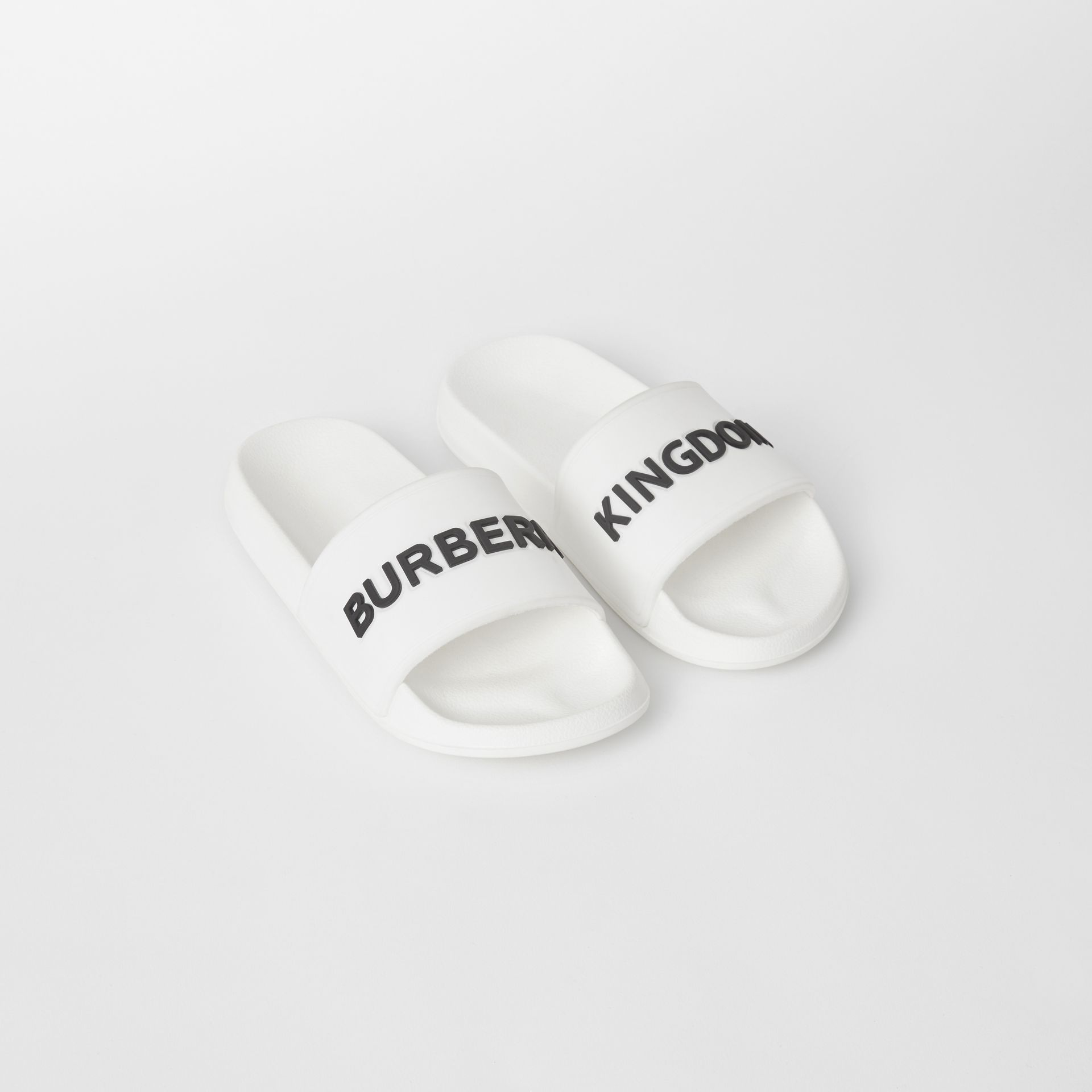 Kingdom Print Slides in Optic White/black - Children | Burberry United States - gallery image 0