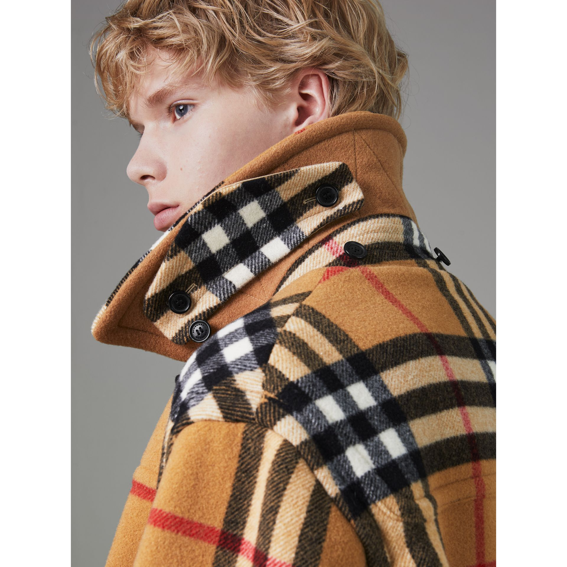 Gosha x Burberry Check Oversized Duffle Coat in Antique Yellow | Burberry - gallery image 4