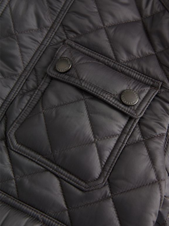 Diamond Quilted Field Jacket in Dark Grey | Burberry - cell image 1