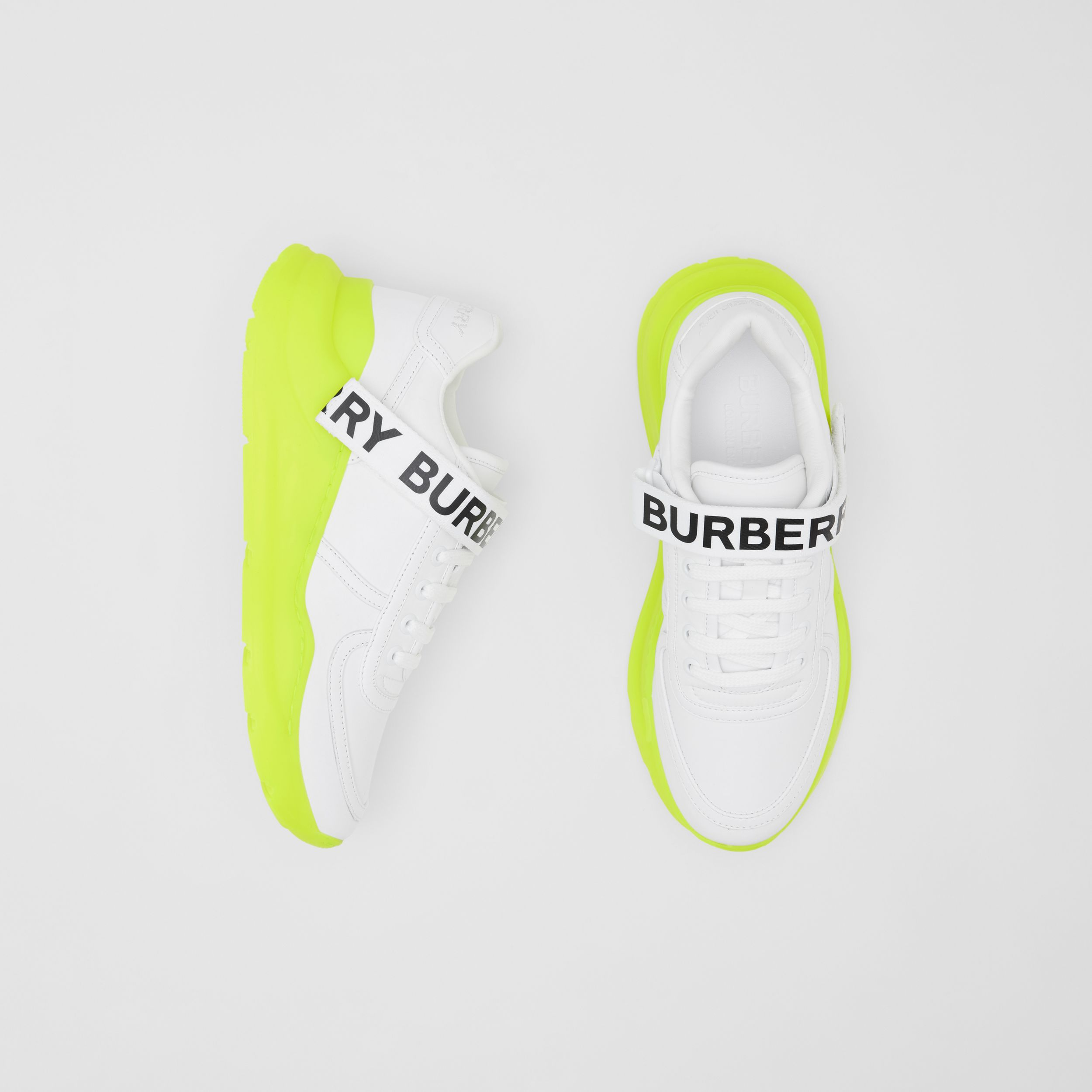 Logo Detail Leather and Nylon Sneakers in Optic White/fluorescent Yellow - Women | Burberry United Kingdom - 1