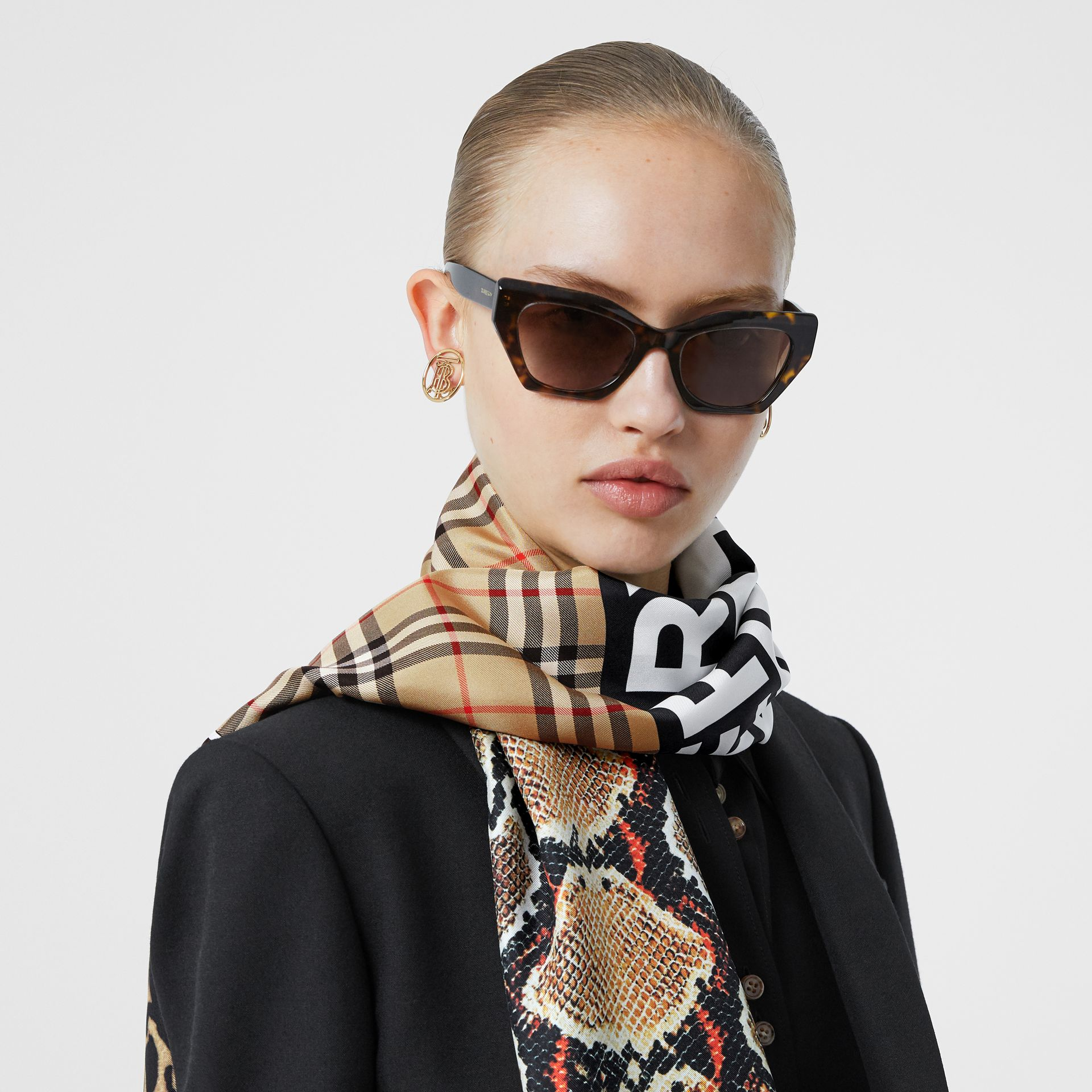 Montage and Logo Print Silk Scarf in Archive Beige | Burberry Hong Kong S.A.R - gallery image 2