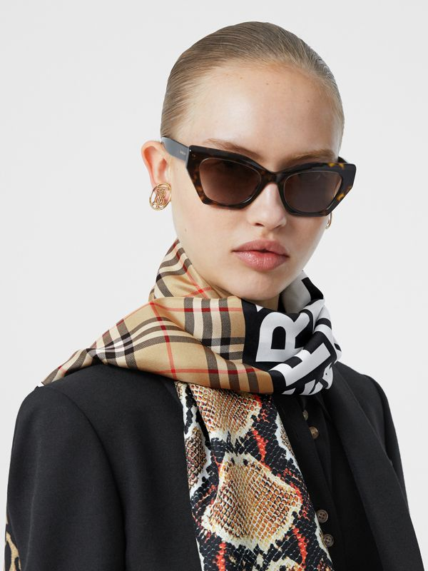Montage and Logo Print Silk Scarf in Archive Beige | Burberry Hong Kong S.A.R - cell image 2