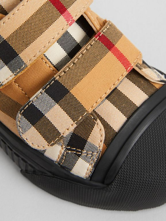 Vintage Check and Leather Sneakers in Antique Yellow/black - Children | Burberry United Kingdom - cell image 1