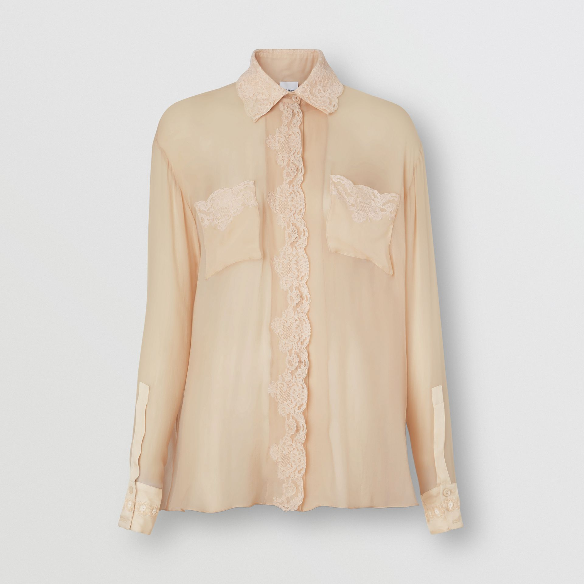 Lace Detail Silk Chiffon Shirt in Soft Peach - Women | Burberry - gallery image 3