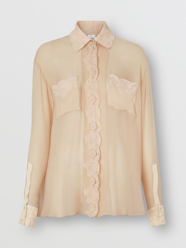 Lace Detail Silk Chiffon Shirt in Soft Peach - Women | Burberry - cell image 3