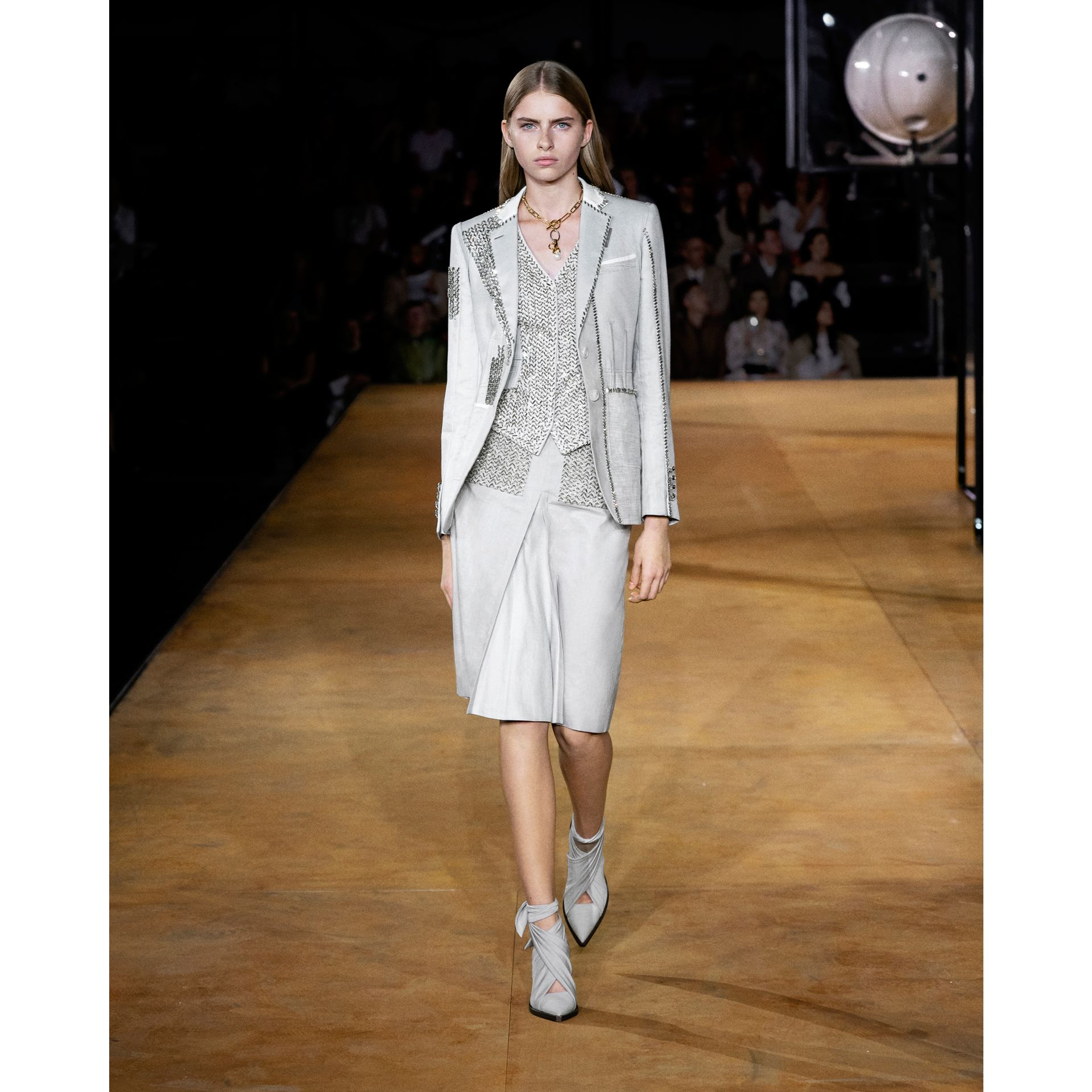Crystal Embroidered Technical Linen Blazer in Grey Melange - Women | Burberry - gallery image 7