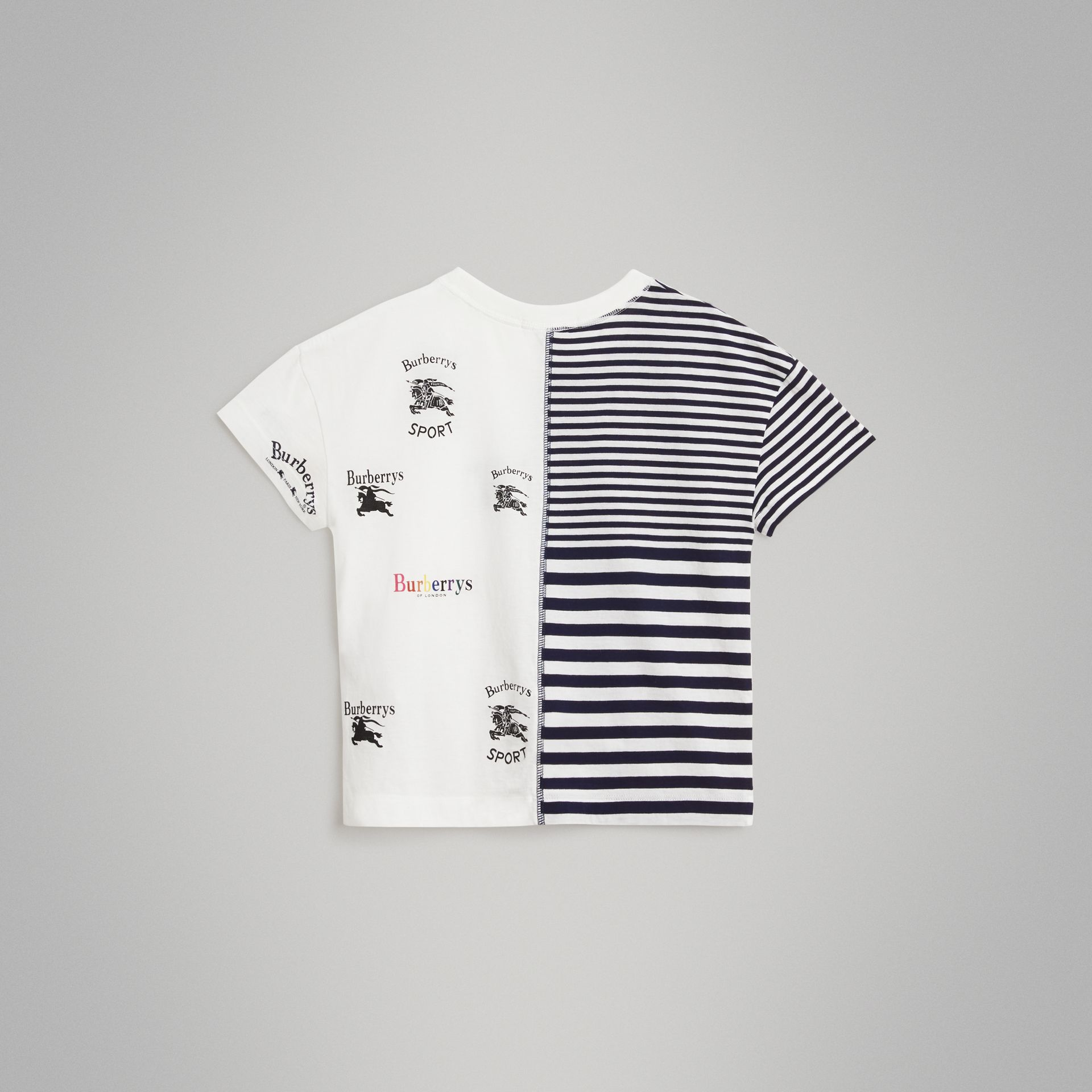 Archive Logo Print Striped Cotton T-shirt in Navy - Boy | Burberry Australia - gallery image 3