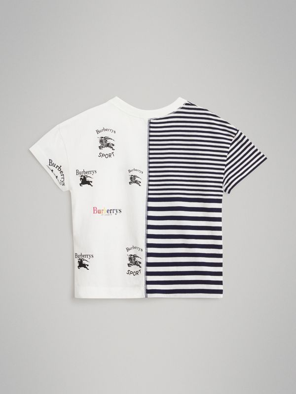 Archive Logo Print Striped Cotton T-shirt in Navy - Boy | Burberry Australia - cell image 3