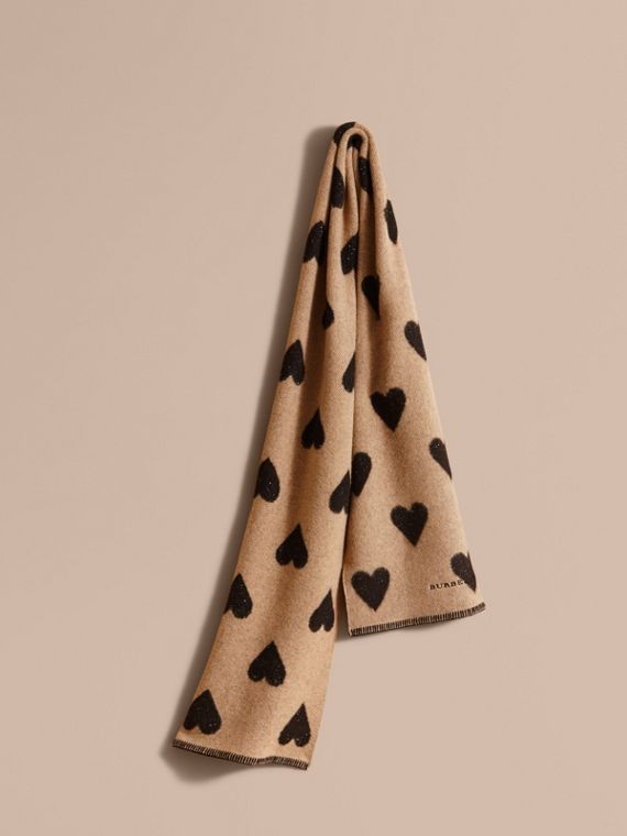 Metallic Heart Print Wool and Cashmere Blend Scarf Camel