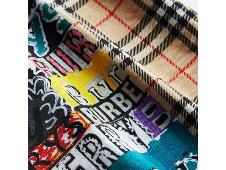 Vintage Check Logo Print Cotton T-shirt in Grey Melange - Boy | Burberry - cell image 1