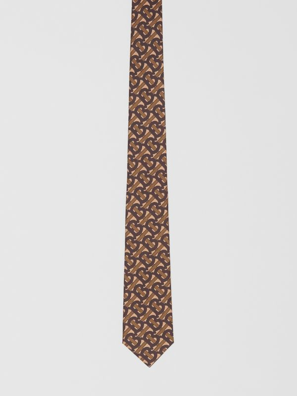 Classic Cut Monogram Print Silk Tie in Bridle Brown - Men | Burberry Singapore - cell image 3