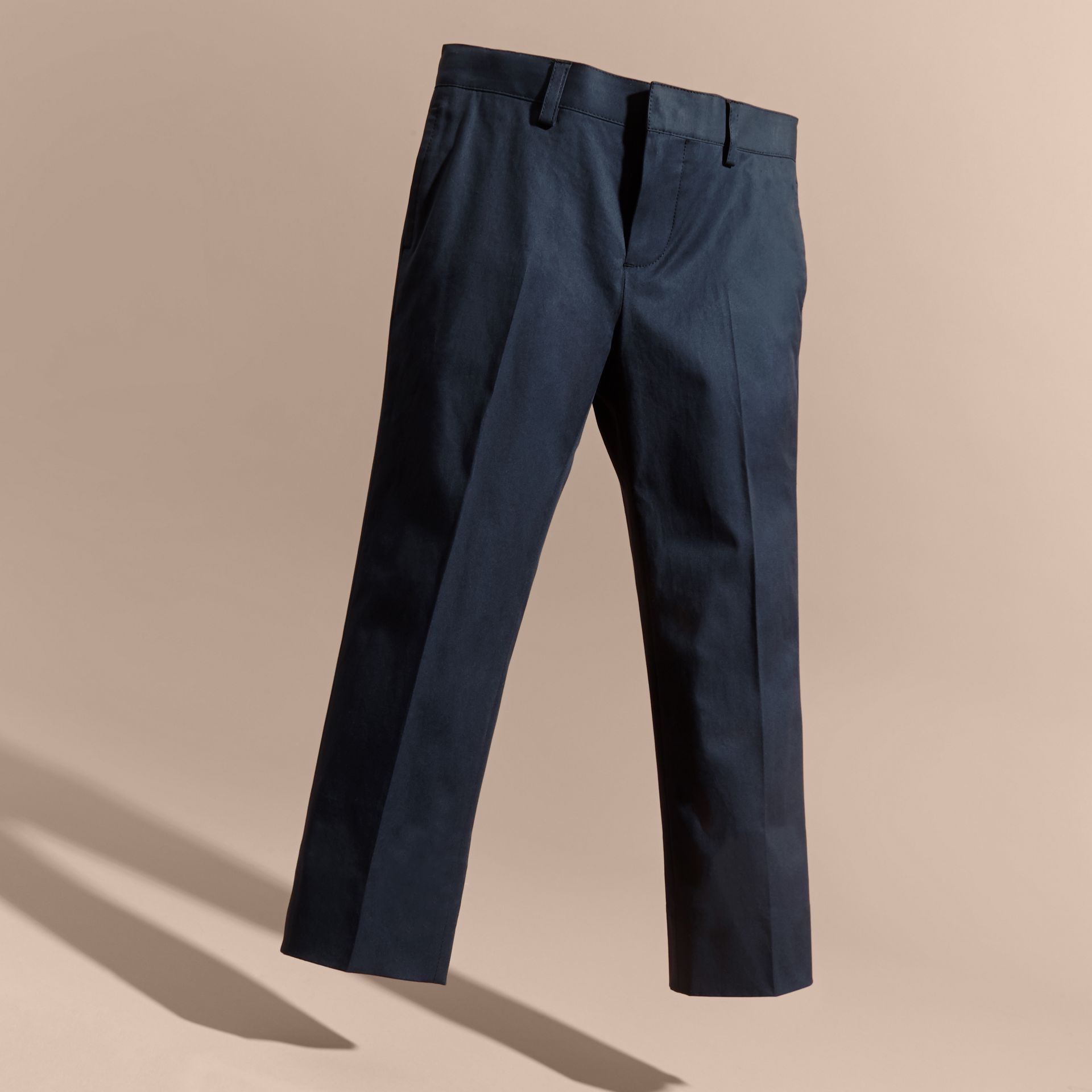 Tailored Stretch Cotton Trousers in Navy | Burberry - gallery image 3