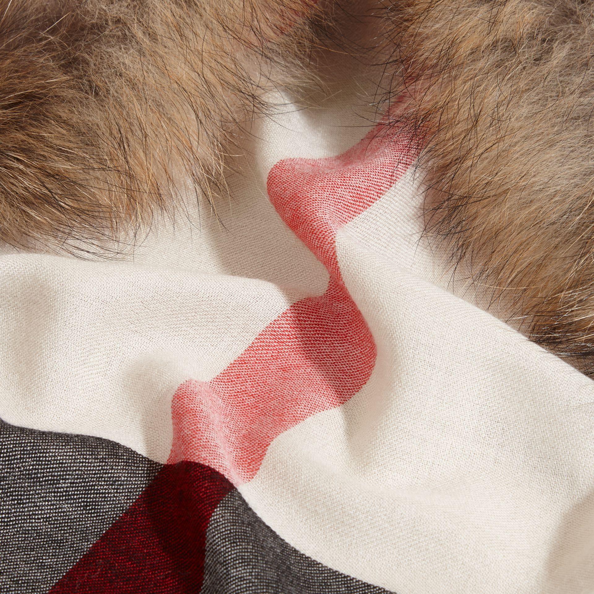 Raccoon Trim Check Wool Cashmere Scarf in Stone - gallery image 2