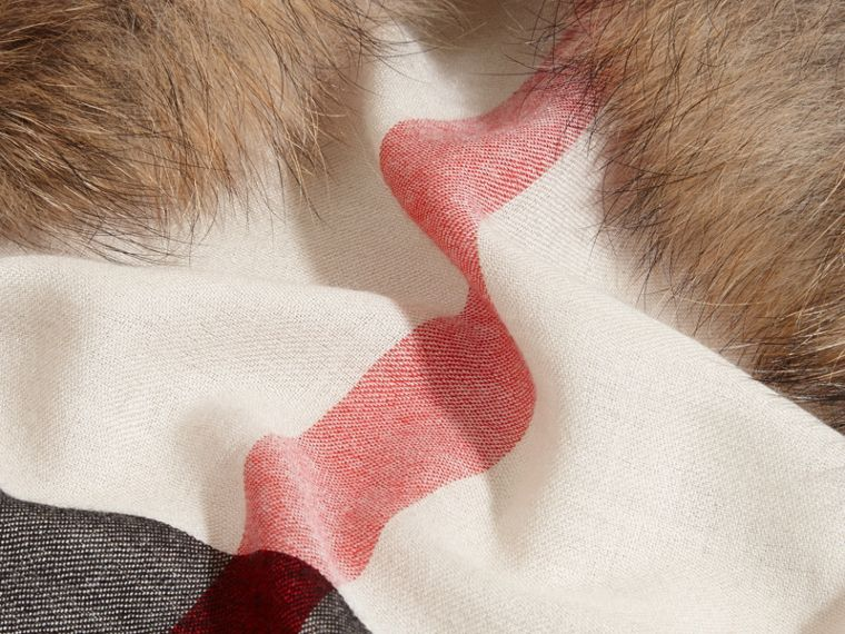 Raccoon Trim Check Wool Cashmere Scarf in Stone - Women | Burberry Canada - cell image 1