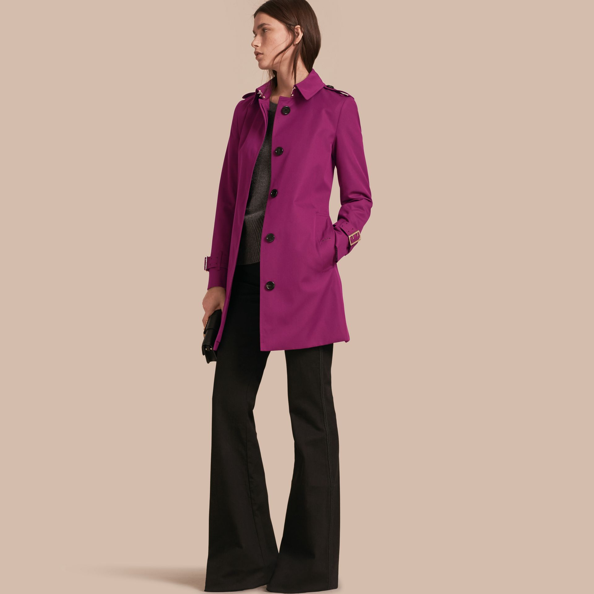 Single-breasted Trench Coat with Metal Buckle Detail Magenta Pink - gallery image 1