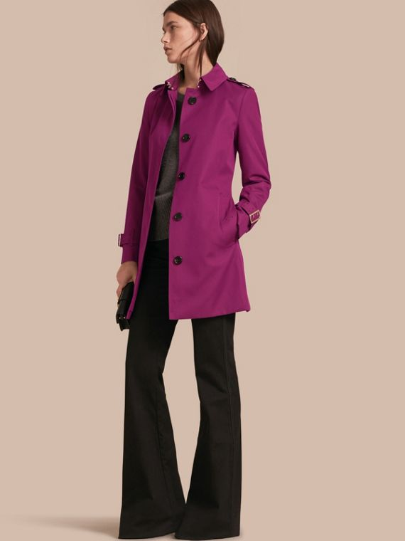 Single-breasted Trench Coat with Metal Buckle Detail Magenta Pink