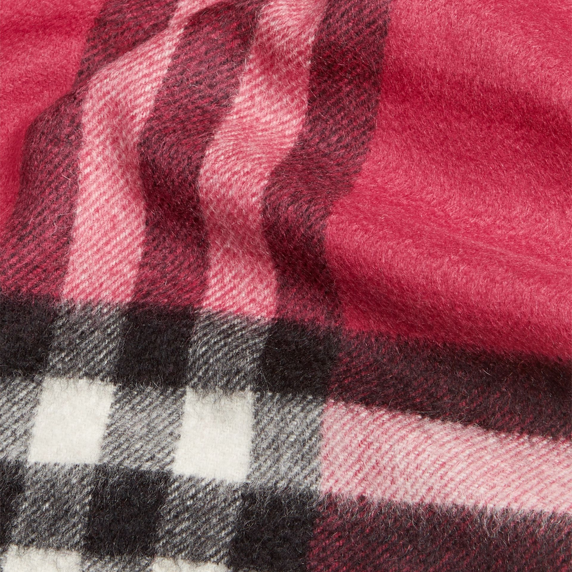 The Mini Classic Cashmere Scarf in Check Fuchsia Pink - gallery image 4