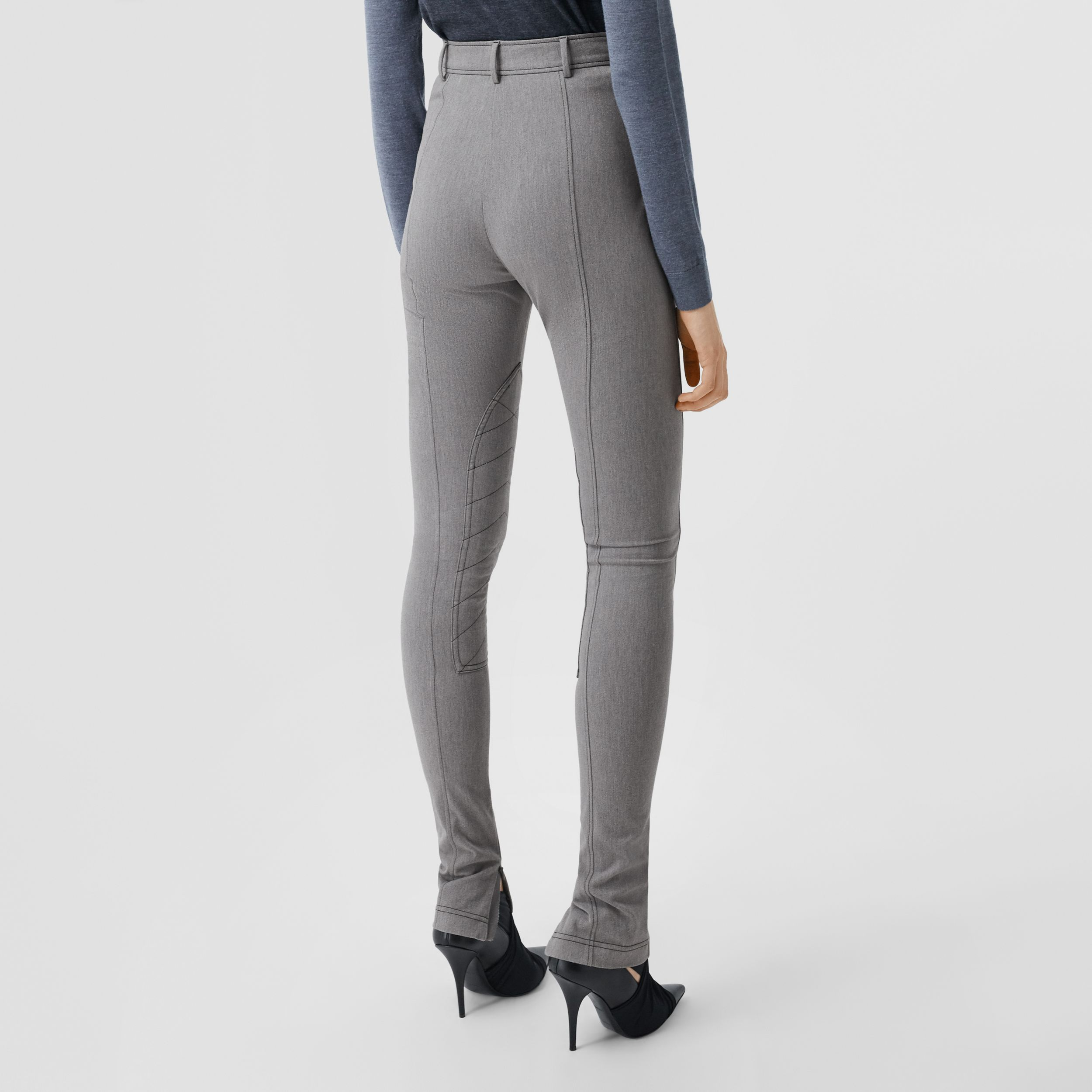 Zip Detail Stretch Cotton Blend Trousers in Grey Melange - Women | Burberry - 3