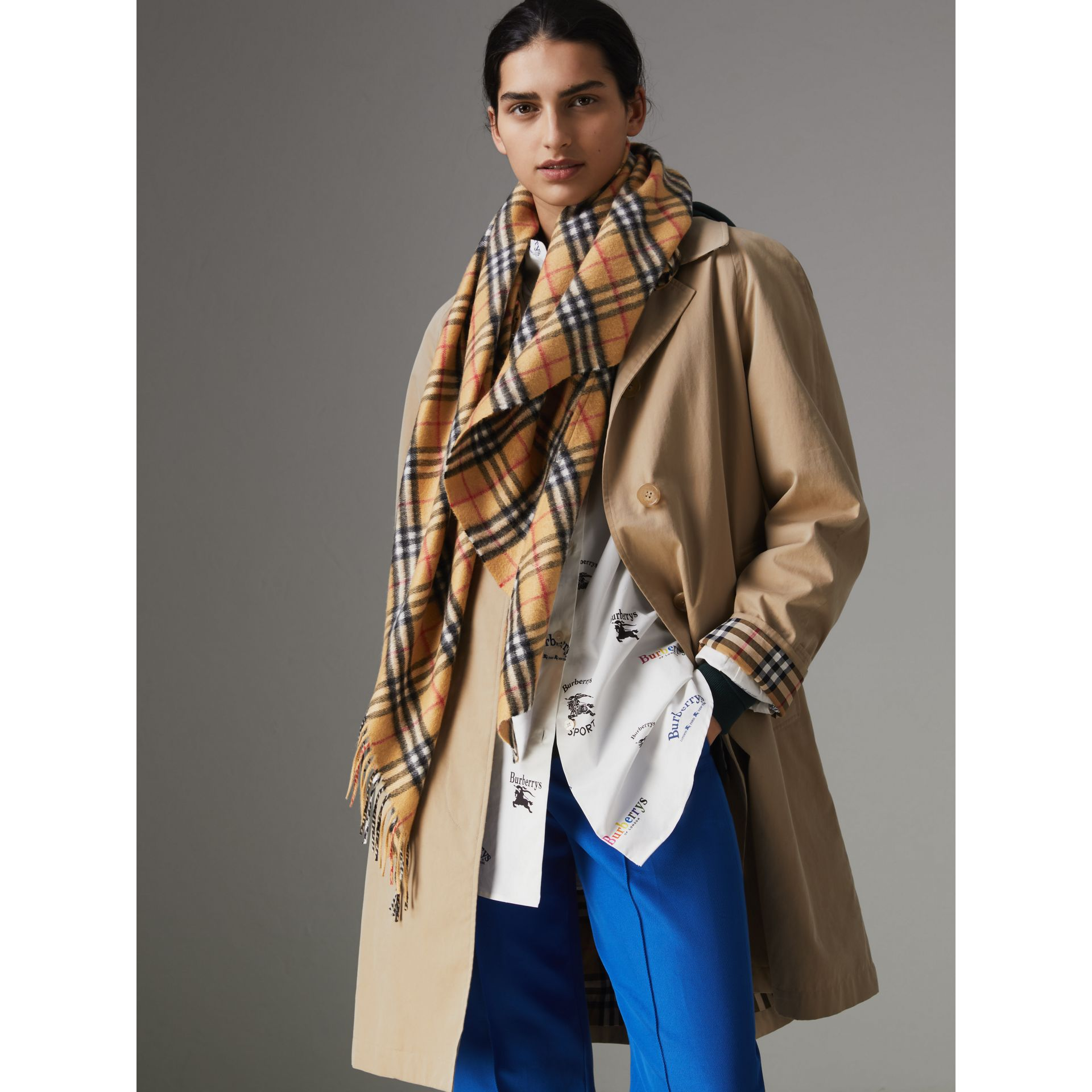 The Burberry Bandana in Vintage Check Cashmere in Antique Yellow | Burberry Australia - gallery image 4