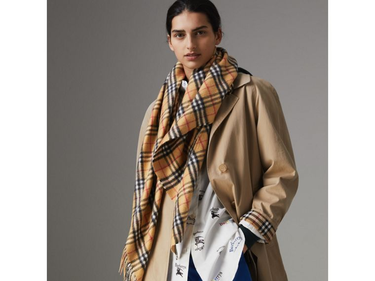The Burberry Bandana in Vintage Check Cashmere in Antique Yellow | Burberry United Kingdom - cell image 4
