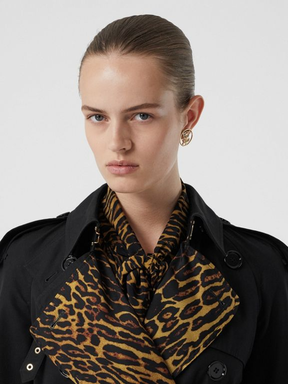 Leopard Print-lined Cotton Gabardine Trench Coat in Black - Women | Burberry Singapore - cell image 1
