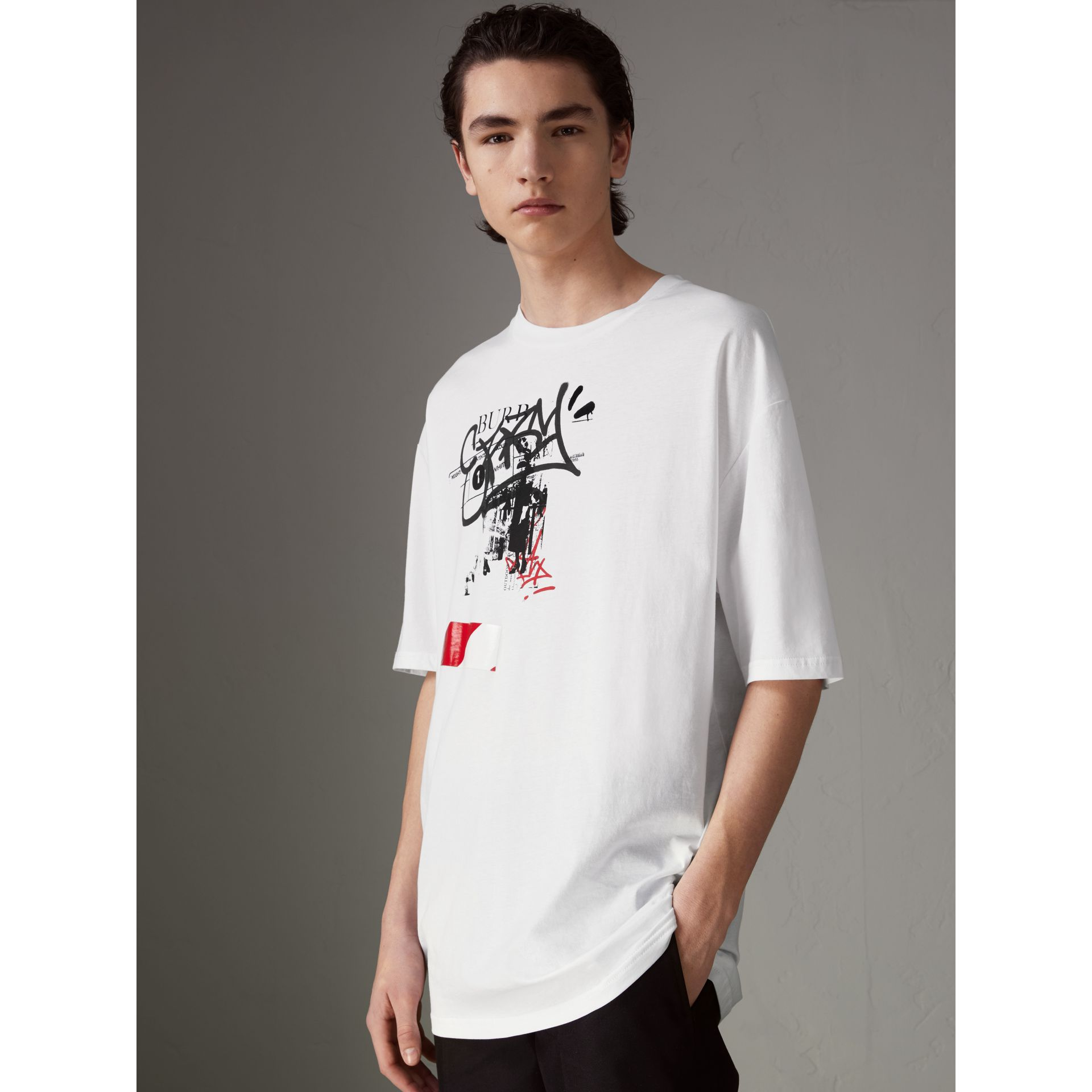 Graffitied Ticket Print Cotton T-shirt in White - Men | Burberry - gallery image 4