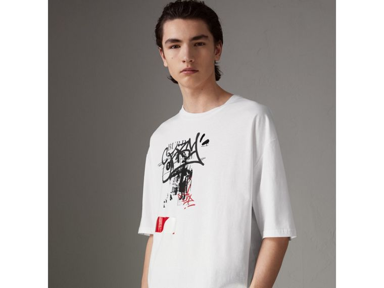 Graffitied Ticket Print Cotton T-shirt in White - Men | Burberry - cell image 4