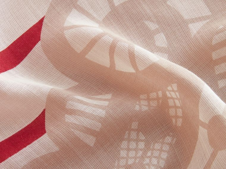 Lace and Breton Stripe Print Cashmere Silk Scarf - Women | Burberry - cell image 1