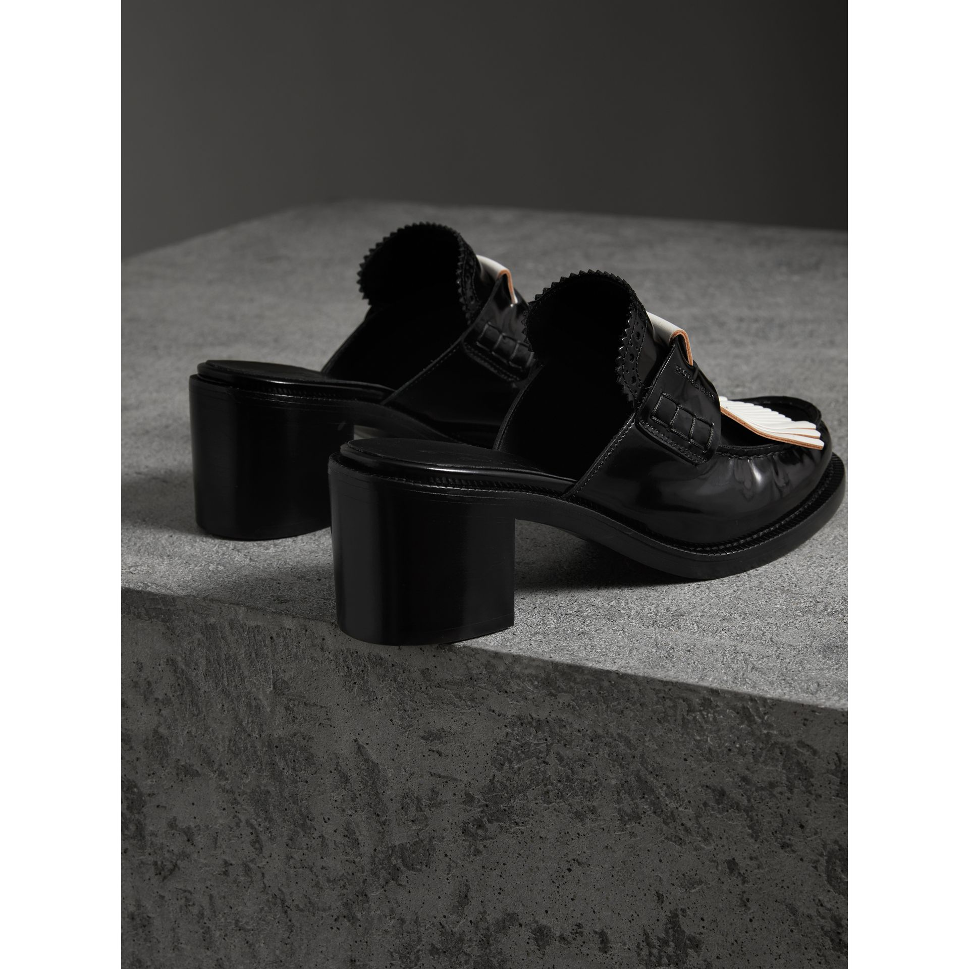 Contrast Kiltie Fringe Leather Block-heel Mules in Black - Women | Burberry - gallery image 2