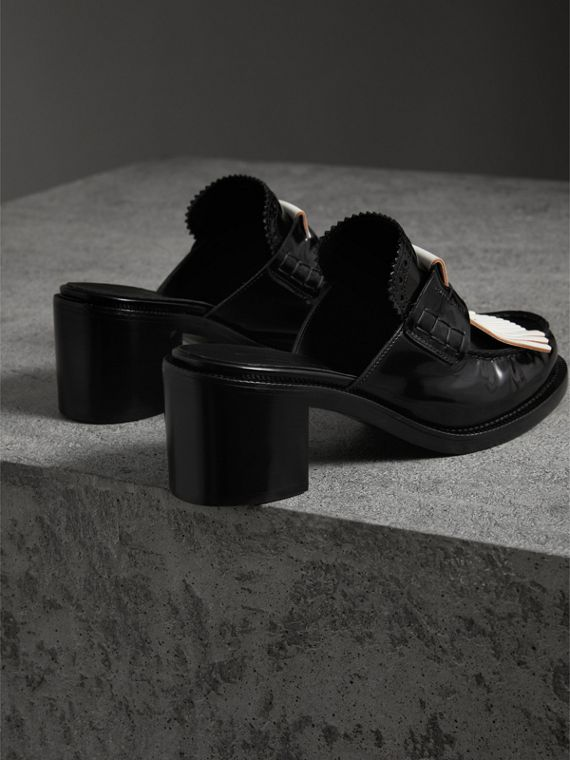 Contrast Kiltie Fringe Leather Block-heel Mules in Black - Women | Burberry - cell image 2