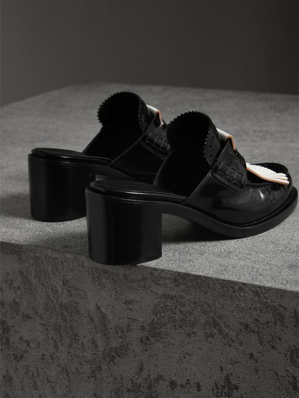 Contrast Kiltie Fringe Leather Block-heel Mules in Black - Women | Burberry - cell image 3