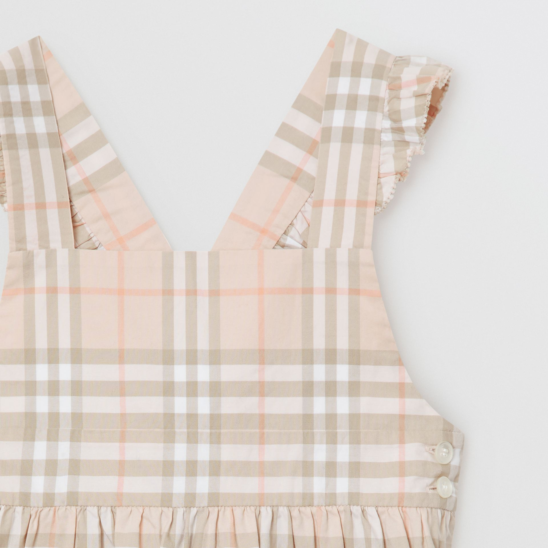 Ruffle Detail Check Cotton Dress in Pale Pink Apricot | Burberry Australia - gallery image 4