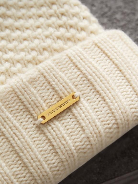Fur Pom-Pom Beanie in Ivory - Women | Burberry - cell image 1