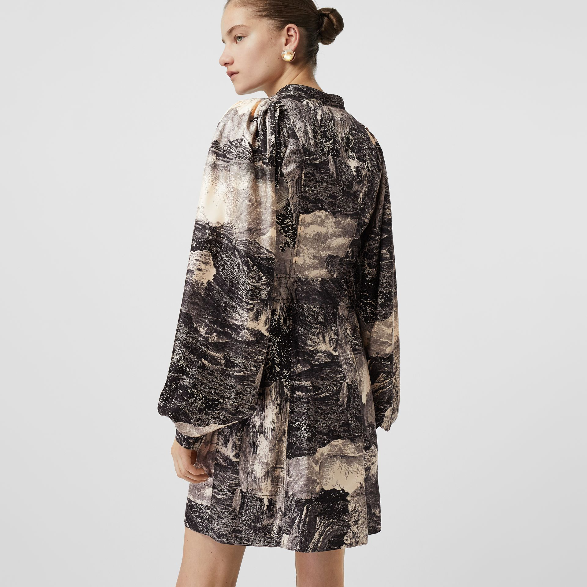 Dreamscape Print Silk Shirt Dress in Pale Apricot - Women | Burberry United Kingdom - gallery image 1