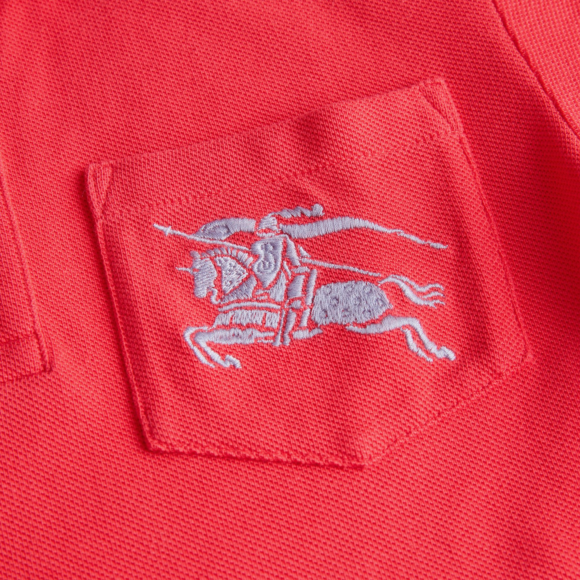 EKD Logo Cotton Piqué Polo Shirt in Bright Red | Burberry Australia - gallery image 1