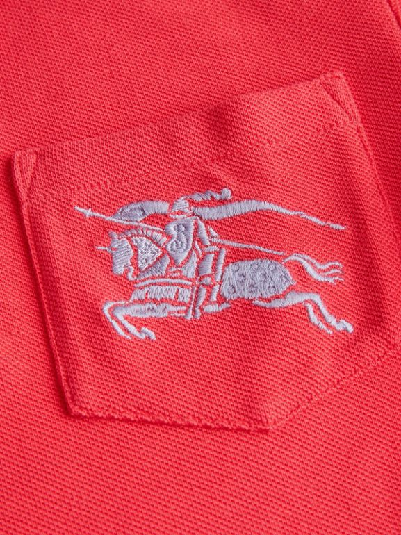 EKD Logo Cotton Piqué Polo Shirt in Bright Red | Burberry Australia - cell image 1