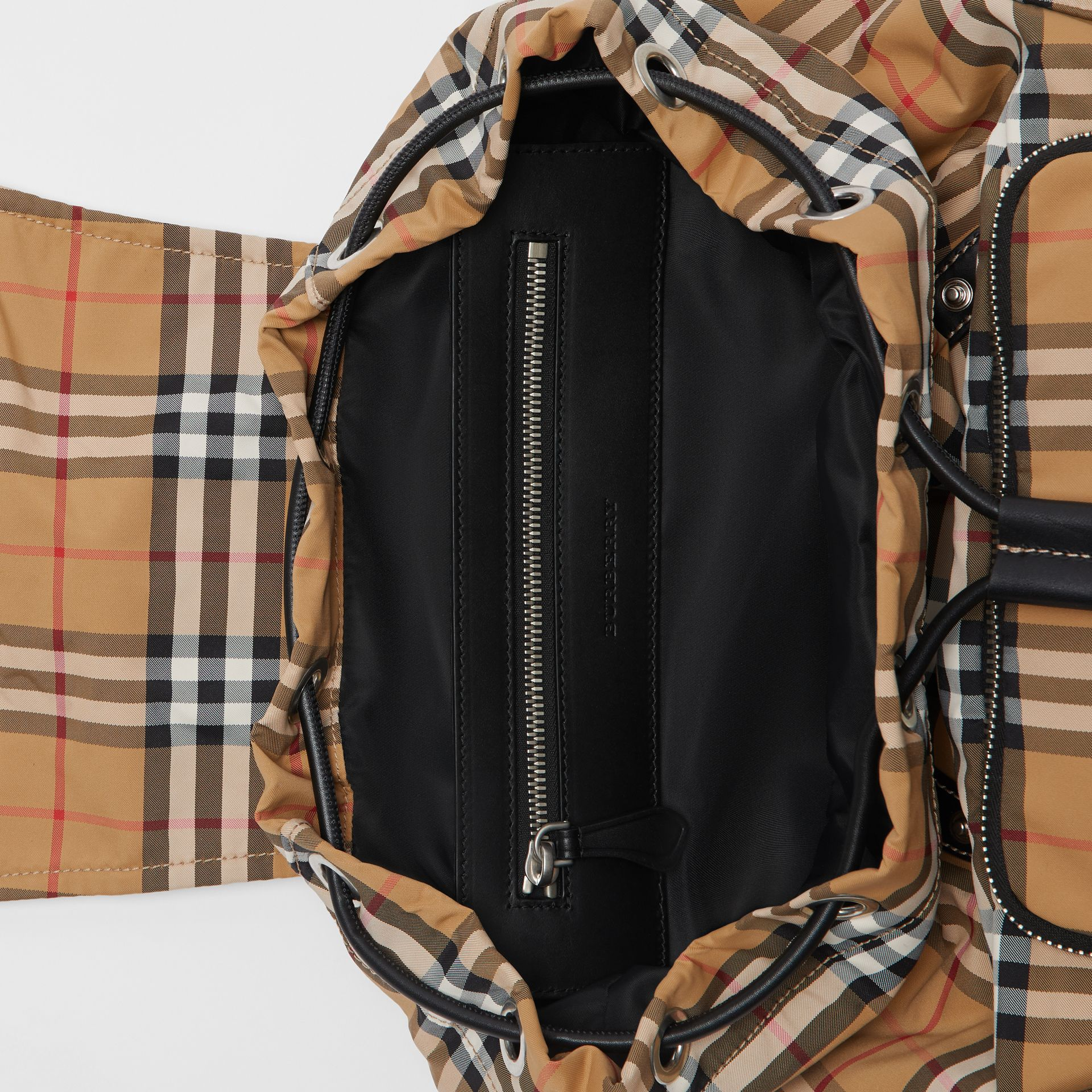 The Large Rucksack in Vintage Check Nylon in Antique Yellow | Burberry United Kingdom - gallery image 4