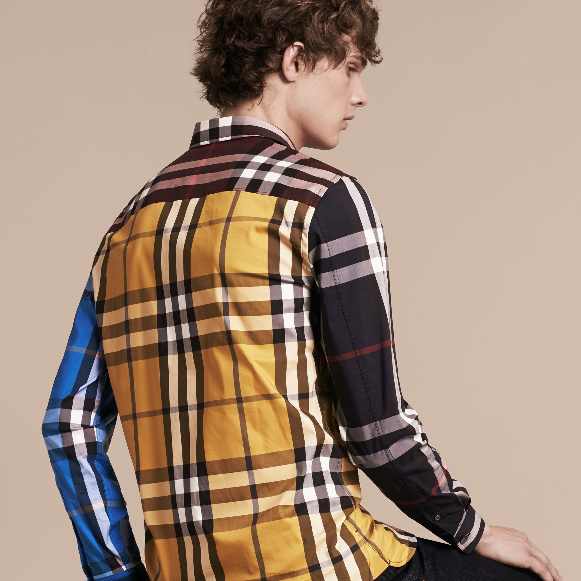 Yellow Colour Block Check Cotton Blend Shirt Yellow - gallery image 3