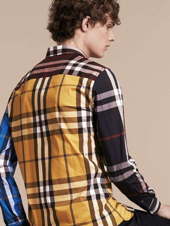 Yellow Colour Block Check Cotton Blend Shirt Yellow - cell image 2