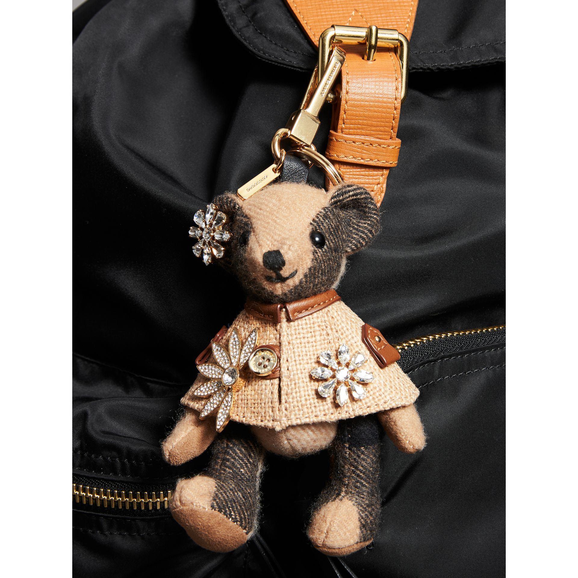 Thomas Bear Charm in Cape with Crystals in Camel | Burberry United Kingdom - gallery image 2
